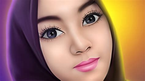 tutorial smudge brush painting tutorial smudge painting hijab girl no speed art youtube