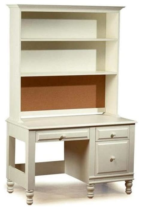 Distressed Desk With Hutch Monterey Desk And Hutch Set Distressed White Traditional Desks And Hutches By Shopladder
