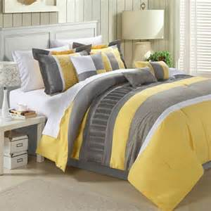 King Size Bed In A Bag With Curtains King Size 12 Piece Comforter Set In Gray Yellow White