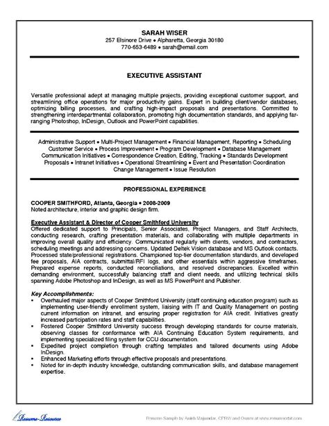 resume sle for executive assistant administrative executive assistant resume free sles