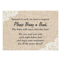 burlap lace bring a book baby shower insert large business cards pack of 100 zazzle