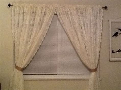 Curtains With Ribbon Ties Lace Curtains And Burlap Ribbon Ties New Apartment Pinterest