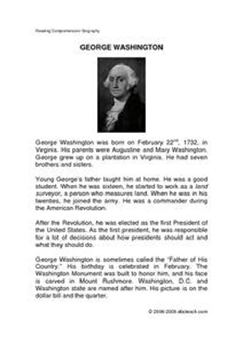 biography of george washington for elementary students george washington reading comprehension biography 4th