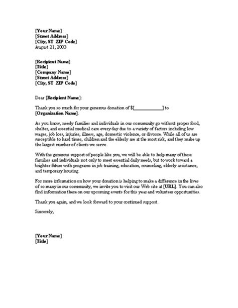 Thank You Letter For Estate Donation Donation Thank You Letter Template Professional Letters