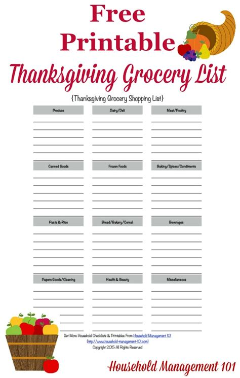free printable household shopping list printable thanksgiving grocery list shopping list