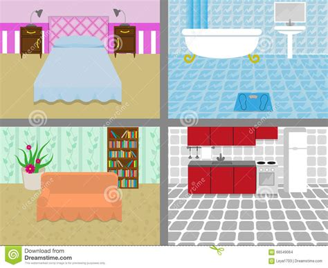 living room bedroom bathroom kitchen a house with rooms stock vector illustration of wallpaper