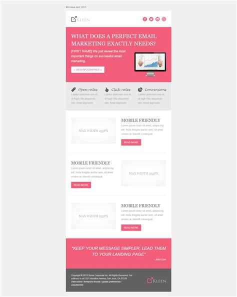 Responsive Modern Email Template Kleen Email Marketing Pinterest 모바일 Zendesk Modern Email Template