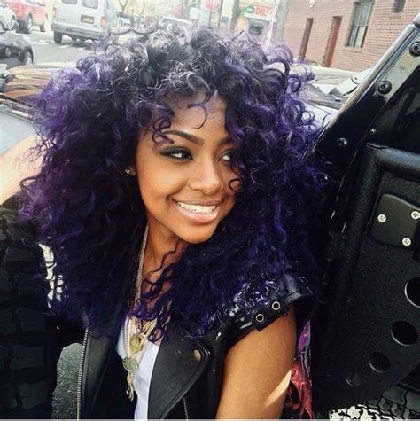 natural hair styles  fashion purple  black curly