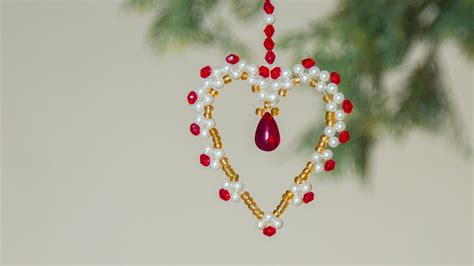 diy beaded heart christmas ornaments christmas