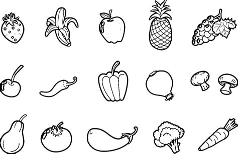 Fruit And Vegetable Coloring Pages Vegetables  sketch template
