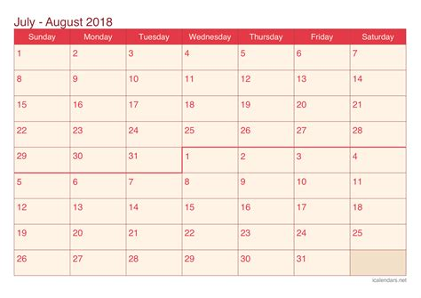 printable calendar june july august 2018 july and august 2018 printable calendar icalendars net