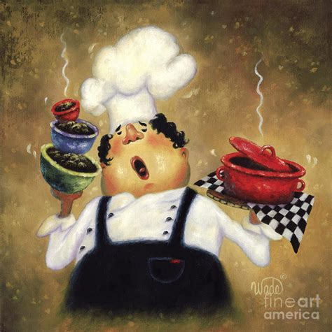 Singing chef painting by vickie wade
