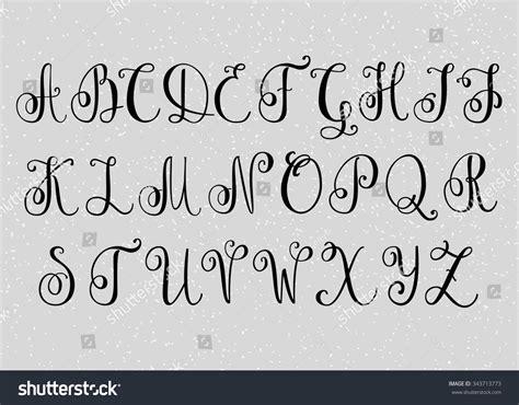 Wedding Running Fonts by Handwritten Brush Flourish Font Capital Letters Stock