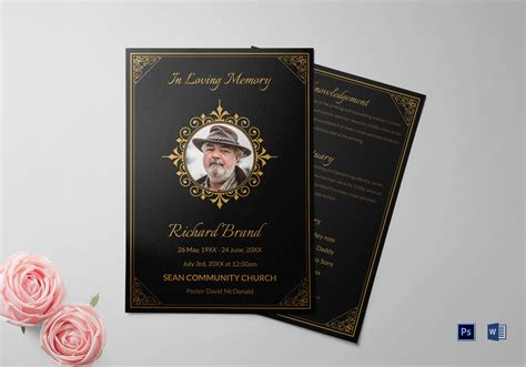 Funeral Service Bulletin Template In Adobe Photoshop Microsoft Word Funeral Bulletin Template