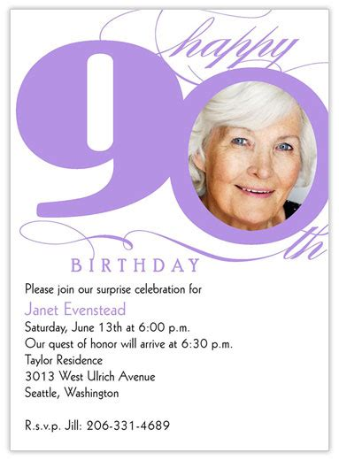 90 Birthday Invitation Card Template by 90th Milestone Birthday 90th Birthday 90