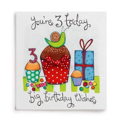 Third Birthday Card 3 Big Birthday Wishes Handmade 3rd Birthday Card 163 2 60