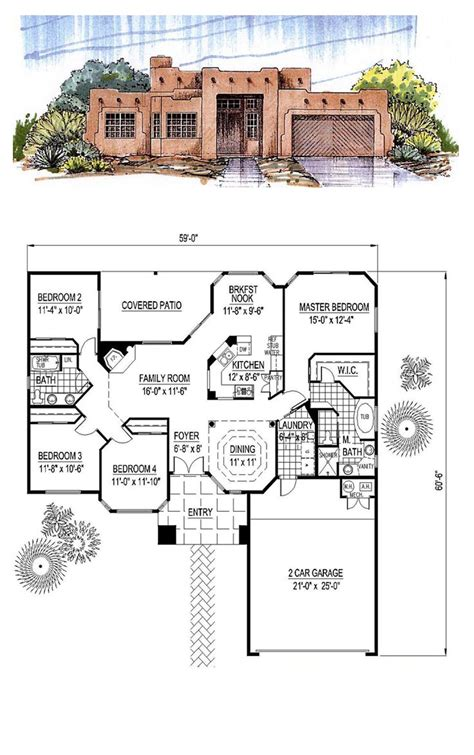 Santa Fe Home Designs by Santa Fe Southwest House Plan 54678