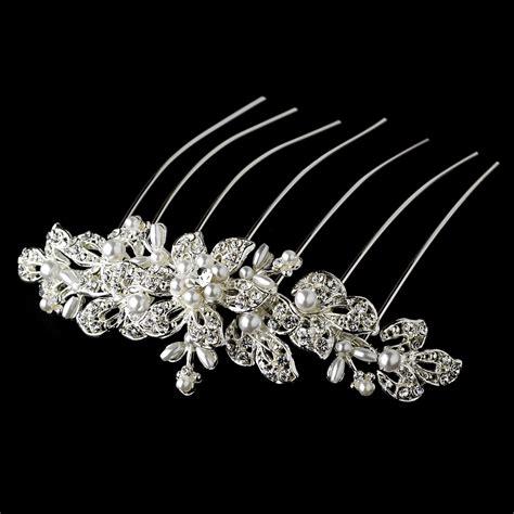 elegant or gold bridal comb w pearls