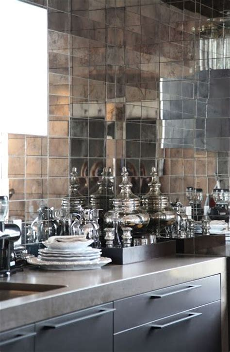 mirrored backsplash in kitchen zsazsa bellagio kitchens pinterest mirror tiles