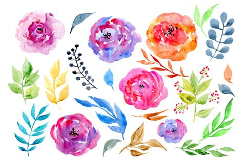 water color flowers watercolor flowers leaves clipart by watercolorflowers