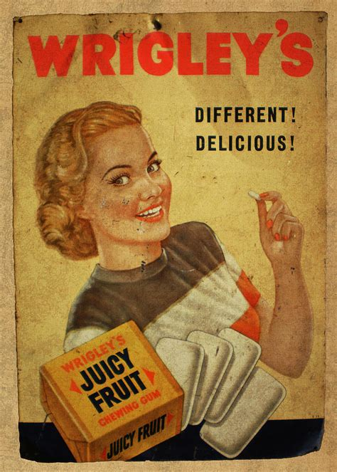 wrigleys fruit chewing gum vintage ad poster mixed