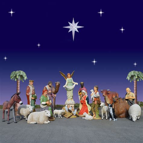huge outdoor nativity with animals 6 ft scale
