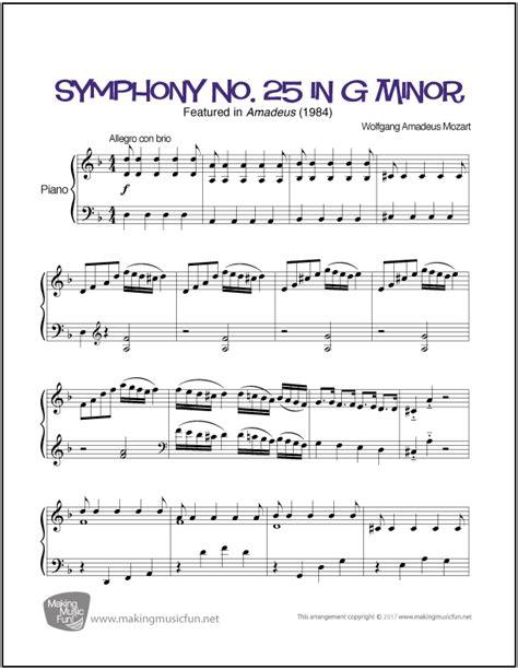 mozart biography easy symphony no 25 in g minor mozart easy piano sheet