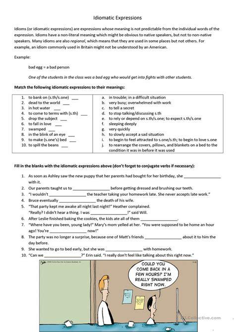 idiomatic expressions worksheet free esl printable