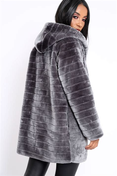Faux Fur Hooded Coat grey soft faux fur hooded coat kila