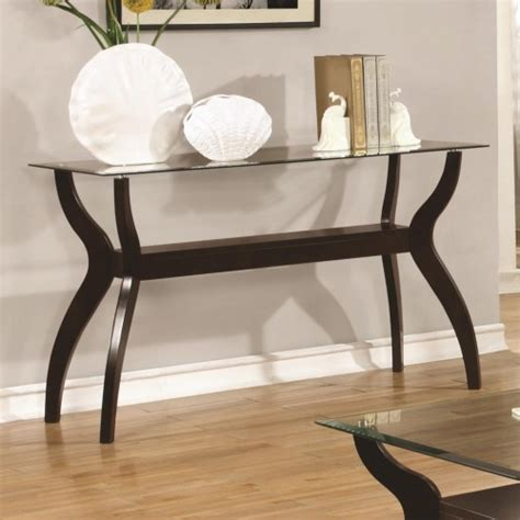 7 Day Furniture by Cappuccino Beveled Glass Sofa Table