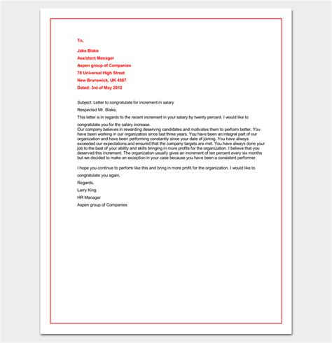 Pay Raise Congratulations Letter Congratulation Letter Template 18 Sles For Word Pdf Format