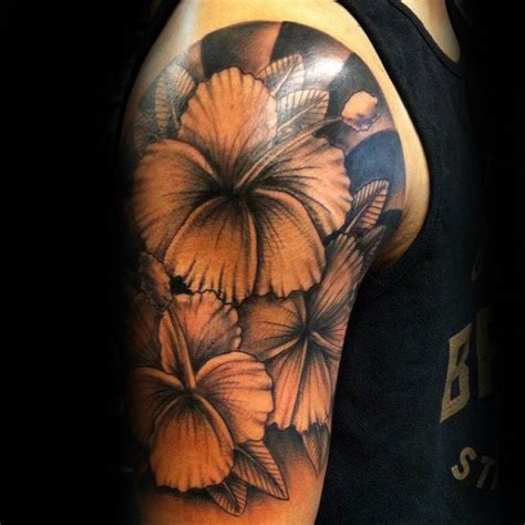 shaded sleeve tattoos for men 80 hibiscus designs for flower ink ideas