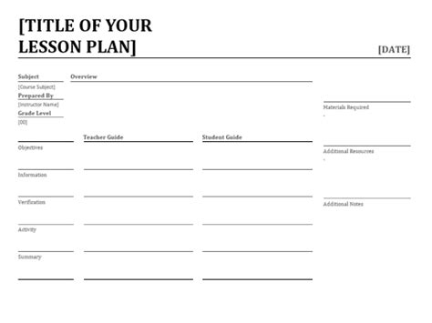 microsoft office lesson plan template daily lesson planner office templates