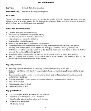 Sales Executive Responsibilities by Marketing Executive Description Sle 9 Exles In Word Pdf
