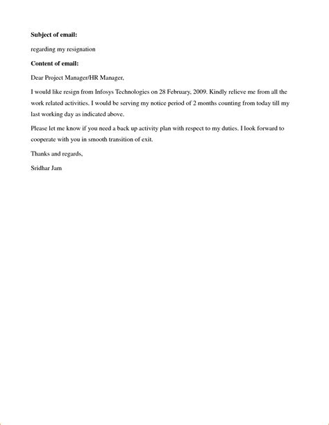 resignation letter letter of resignation sle no notice