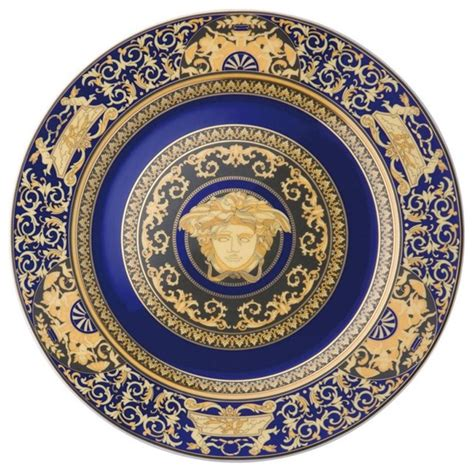 Versace Logo Plate Shopper by Versace Medusa Blue Wall Plate 12 Inch Traditional