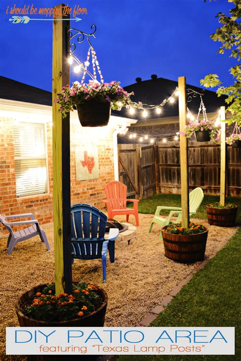 i should be mopping the floor: DIY Patio Area with Texas Lamp Posts