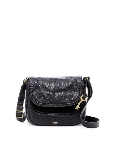 Fossil Peyton Printed 801 fossil peyton small flap leather crossbody in black lyst