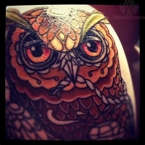 owl tattoo red red eyes owl tattoo on shoulder
