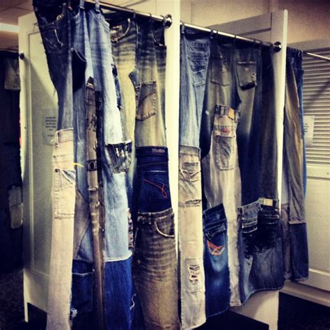 denim drapes dressing room curtains made from recycled denim jeans in a