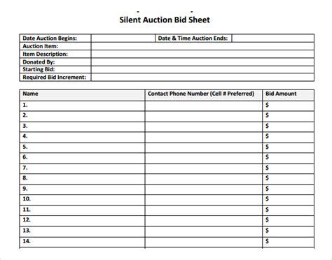 printable silent auction bid sheet template pinterest with list