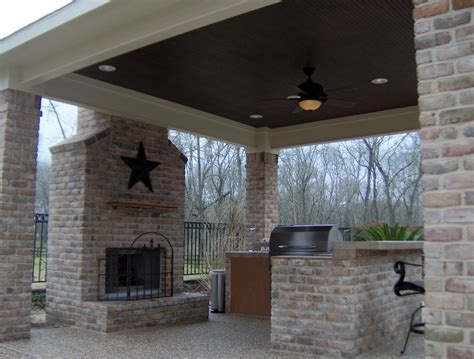 covered patio with grill and fireplace ideas for the