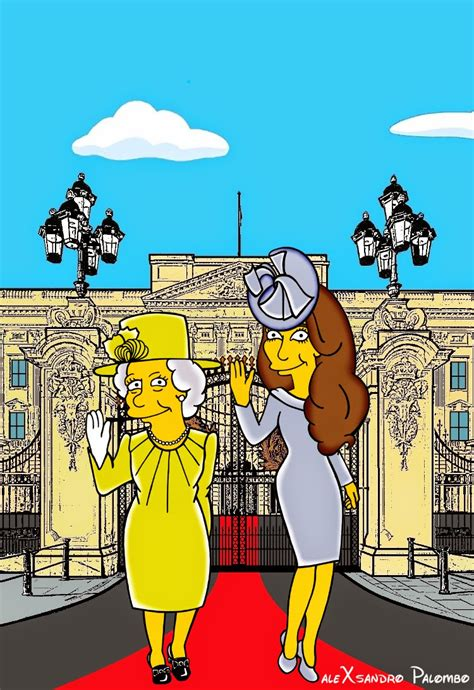 Fashion At The Uk Simpsons Premiere And We Use That Term Lightly by Artist Alexsandro Palombo Gives Kate Middleton A Simpsons