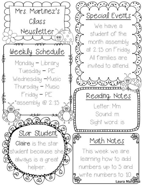 student newsletter templates free pics for gt weekly school newsletter templates