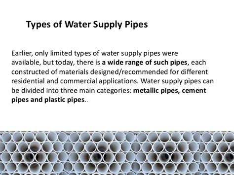 Types Of Plumbing Pipes Materials by Types Of Pipes For Water Supply Images