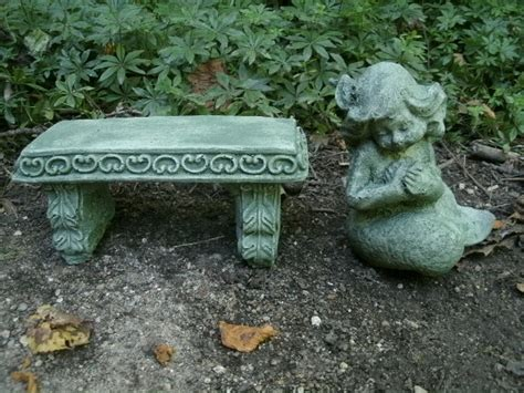 small concrete garden benches small cement mermaid girl bench pair garden art green