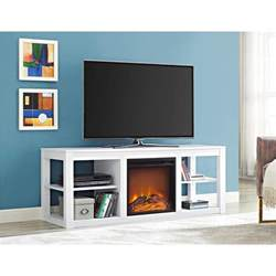 white tv stand with fireplace ameriwood parsons white 65 in tv stand console with