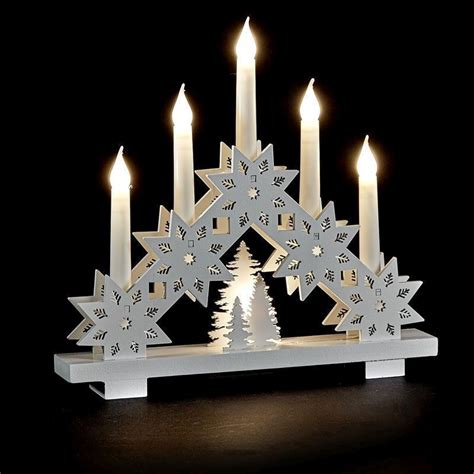 wood candle bridge with 6 white ledlights buy online at