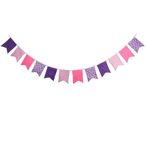 Banner Flag Bunting Flag Bridal Shower To Be Motif Flower new 12 flags pink purple bunting fabric banners