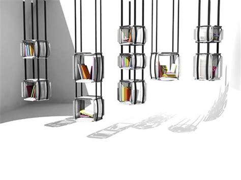 suspended bookshelves hanging bookcase design by adrien de melo